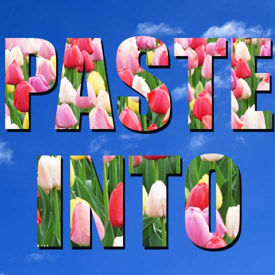 Below this is where I used Paste Into to put flowers in a couple of words. I don't like the color combination and if I took the time to find different flowers, maybe smaller and a different font, then perhaps the end result would have come out better.