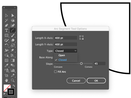 The Adobe Illustrator Arc Tool